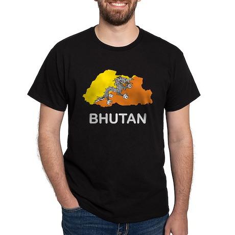 Map Of Bhutan Dark T-Shirt