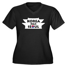 Korea Has Seoul Women's Plus Size V-Neck Dark T-Sh
