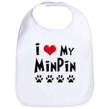 I Love My Min Pin Bib