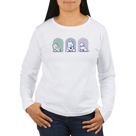 Westie Pastel Trio Women's Long Sleeve T-Shirt