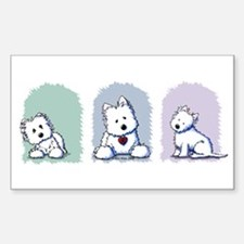Westie Pastel Trio Rectangle Sticker 10 pk)