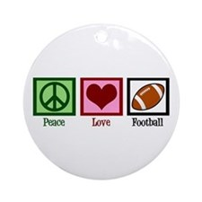 Peace Love Football Ornament (Round)