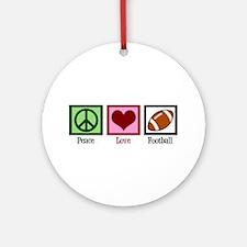 Peace Love Football Ornament (Round)