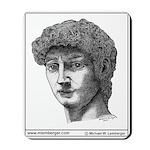 Mousepad, Statue of David, Pen & Ink drawing,
