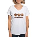 Monkey See Chocolate Women's V-Neck T-Shirt