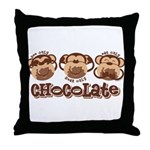 Monkey See Chocolate Throw Pillow