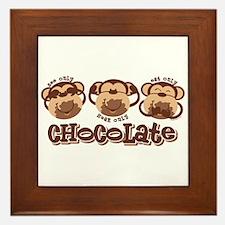 Monkey See Chocolate Framed Tile