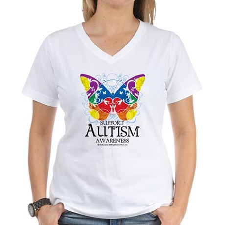 Autism Butterfly Women's V-Neck T-Shirt