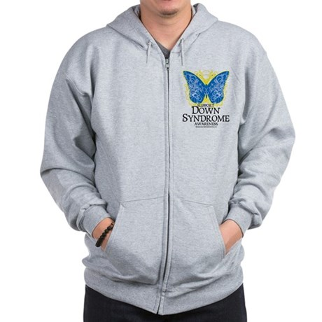 Down Syndrome Butterfly Zip Hoodie