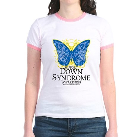 Down Syndrome Butterfly Jr. Ringer T-Shirt