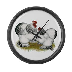 Cochins: Columbian Bantams Large Wall Clock