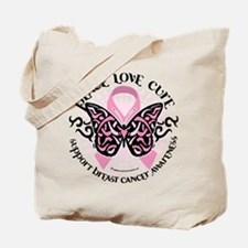 Breast Cancer Butterfly Triba Tote Bag