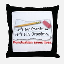 Punctuation Saves Lives Throw Pillow