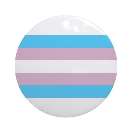 Trans Flag Ornament (Round)
