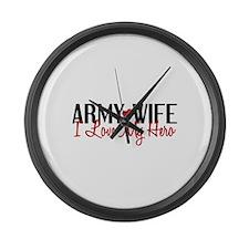 Army Wife - Love My Hero Large Wall Clock