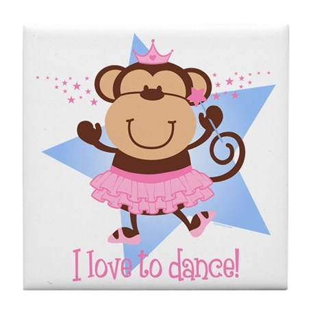 Monkey Ballerina Tile Coaster
