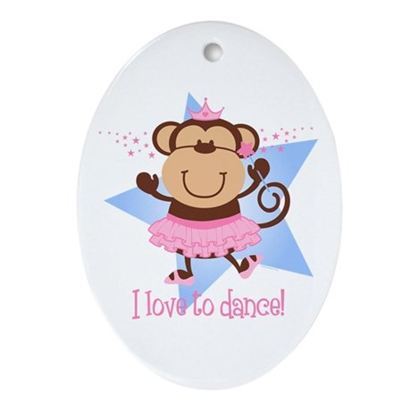 Monkey Ballerina Ornament (Oval)