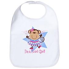 Monkey Twirl Girl Bib