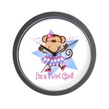Monkey Twirl Girl Wall Clock