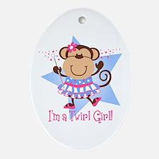 Monkey Twirl Girl Ornament (Oval)