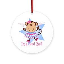 Monkey Twirl Girl Ornament (Round)