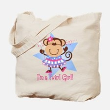 Monkey Twirl Girl Tote Bag