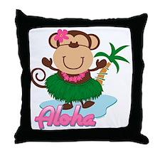 Aloha Monkey Throw Pillow