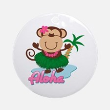 Aloha Monkey Ornament (Round)