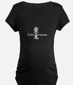 Reiki Woman Black Maternity T-Shirt