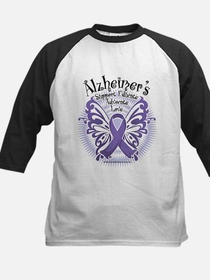 Alzheimers Butterfly 3 Kids Baseball Jersey