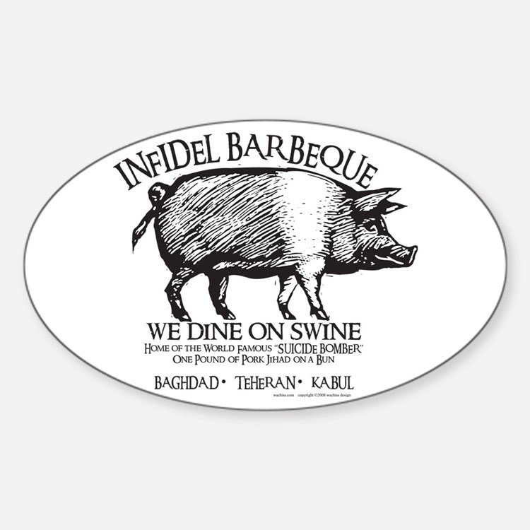 Infidel Barbeque Sticker (Oval)