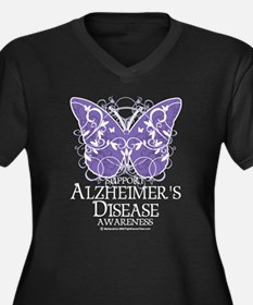 Alzhimers Butterfly 4 Women's Plus Size V-Neck Dar