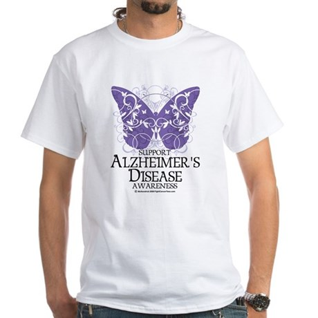Alzhimers Butterfly 4 White T-Shirt