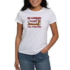 My Dachshund Walks All Over Me Women's T-Shirt