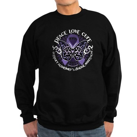 Alzheimers Peace Love Cure Tr Sweatshirt (dark)