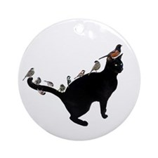 Birds on Cat Ornament (Round)