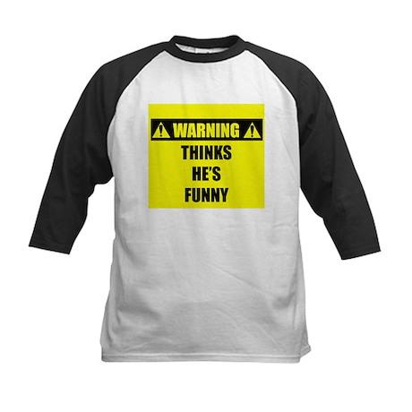 WARNING: Thinks He's Funny Kids Baseball Jersey