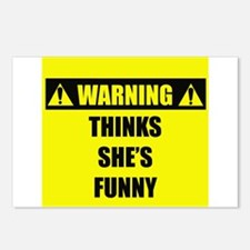 WARNING: Thinks She's Funny Postcards (Package of