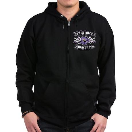 Alzheimers Tribal Violet Zip Hoodie (dark)