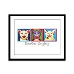 Three Laughing Cats Framed Panel Print