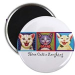Three Laughing Cats Magnet