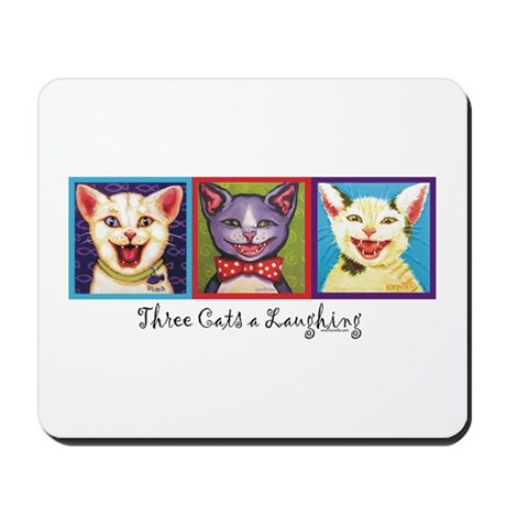 Three Laughing Cats Mousepad