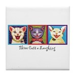 Three Laughing Cats Tile Coaster