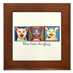 Three Laughing Cats Framed Tile