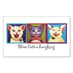 Three Laughing Cats Rectangle Sticker