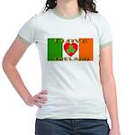 I Love Ireland Shamrock Heart Jr. Ringer T-Shirt
