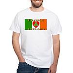 I Love Ireland Shamrock Heart White T-Shirt