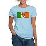 I Love Ireland Shamrock Heart Women's Pink T-Shirt