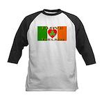 I Love Ireland Shamrock Heart Kids Baseball Jersey