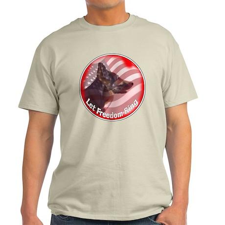 German Shepherd Let Freedom Ring Light T-Shirt